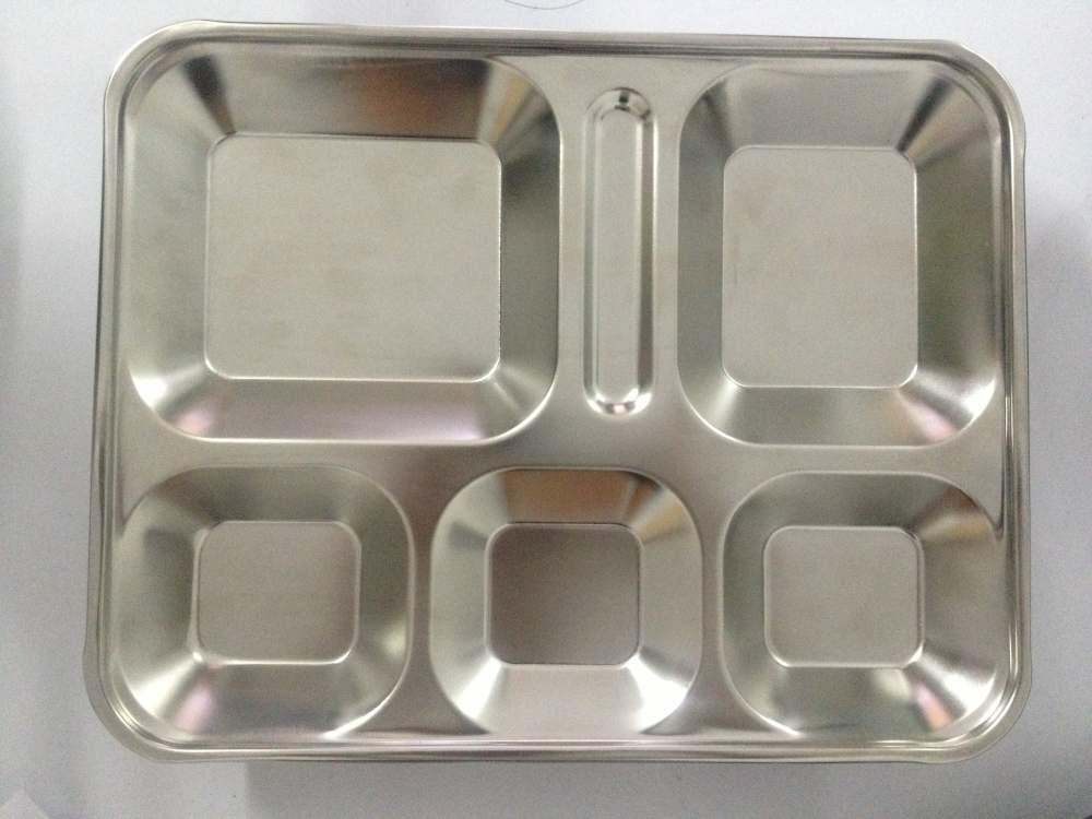 Khay inox 5 ngăn dùng cho căn tin, nhà ăn công nghiệp