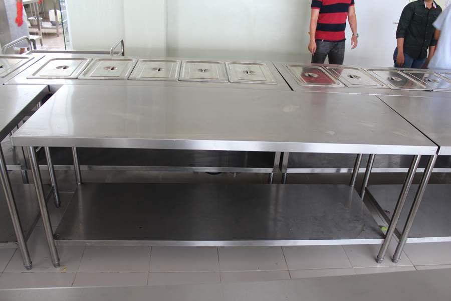 bàn inox 2 tầng