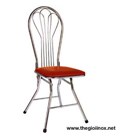 Ghế gấp gọn inox đệm đỏ
