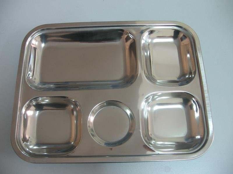 Khay inox 5 ngăn dùng cho nhà ăn công nghiệp, căn tin, trường học